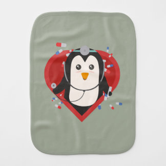 Penguin doctor with heart Zal28 Burp Cloth