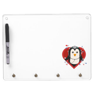 Penguin doctor with heart Zal28 Dry Erase Board With Keychain Holder
