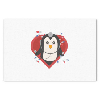 Penguin doctor with heart Zal28 Tissue Paper