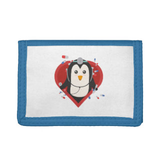 Penguin doctor with heart Zal28 Tri-fold Wallets