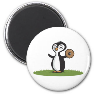 Penguin Donuts 2 Inch Round Magnet