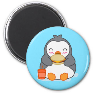 Penguin Eating Burger Cute Fridge Magnet