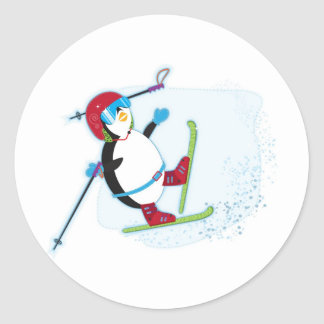 Penguin falling on ski round sticker