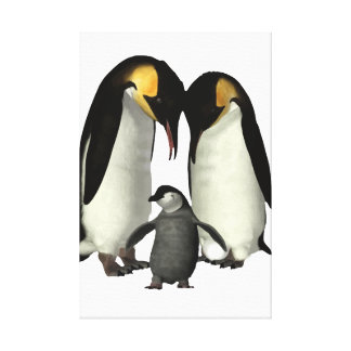 Penguin Family Canvas Stretched Canvas Prints