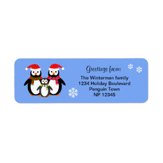 Penguin family editable text blue christmas return address label