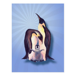 PENGUIN FAMILY & LIGHT RAYS by SHARON SHARPE Postcard