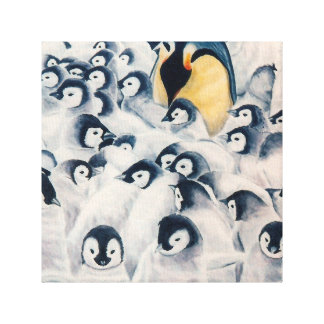 Penguin Family Limited Edition Canvas Reproduction Stretched Canvas Print