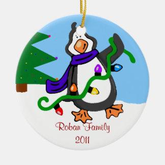 Penguin-Family Name Ceramic Ornament