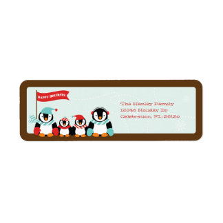 Penguin Family of 4 Holiday Label