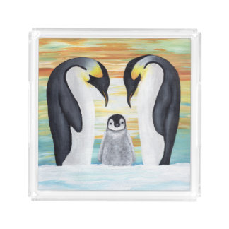 Penguin Family with Baby Penguin Acrylic Tray