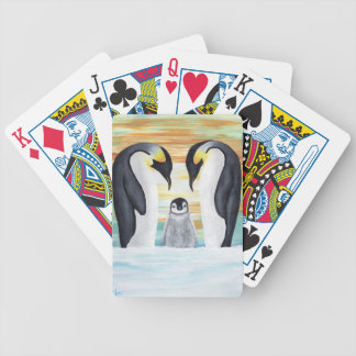 Penguin Family with Baby Penguin Bicycle Playing Cards