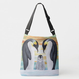 Penguin Family with Baby Penguin Crossbody Bag