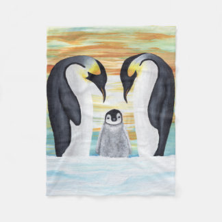 Penguin Family with Baby Penguin Fleece Blanket