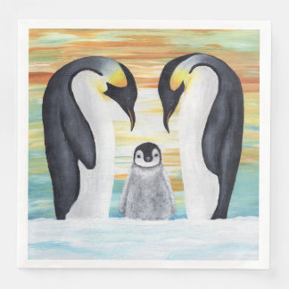 Penguin Family with Baby Penguin Paper Napkins