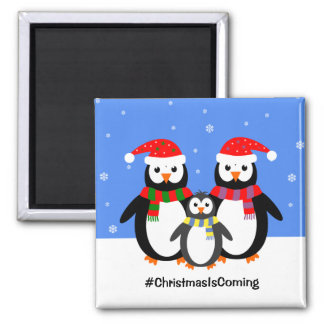 Penguin family your text christmas magnet