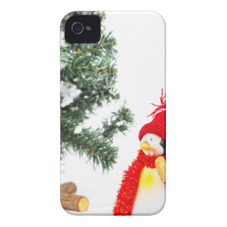 Penguin figurine with skis and christmas tree iPhone 4 Case-Mate cases