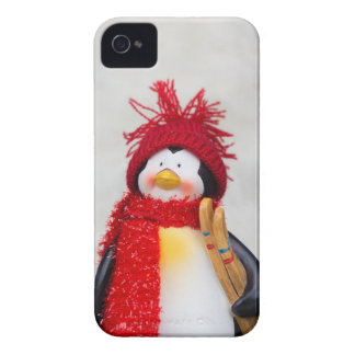 Penguin figurine with white christmas tree iPhone 4 covers