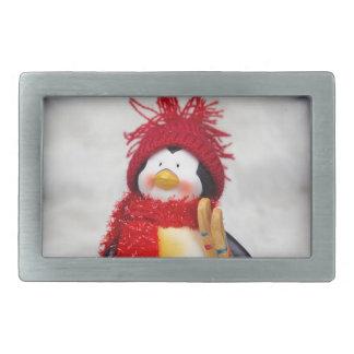 Penguin figurine with white christmas tree rectangular belt buckles