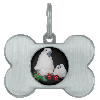 Penguin figurines as family with christmas balls pet ID tag