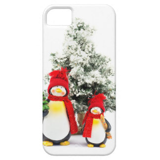 penguin figurines with christmas tree in winter case for the iPhone 5