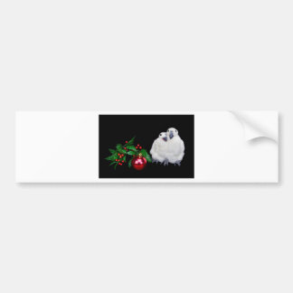 Penguin figurines  with red christmas ball bumper sticker