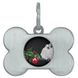 Penguin figurines  with red christmas ball pet name tag