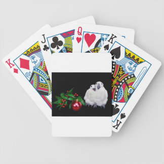 Penguin figurines  with red christmas ball poker deck
