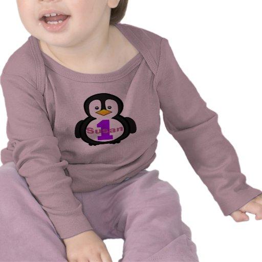 Penguin First Birthday Girl Shirt