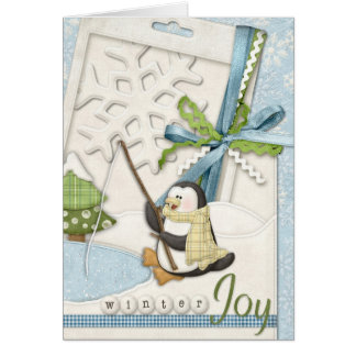 Penguin Fishing in a Pond Card