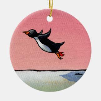 Penguin flying fun whimsical art Eternal Optimist Ceramic Ornament