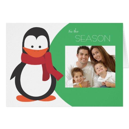 Penguin Folded Holiday Card-green