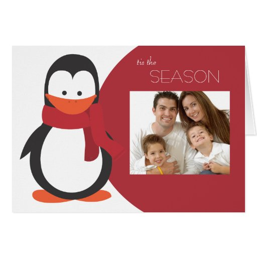 Penguin Folded Holiday Card-red