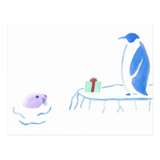 Penguin Gives Seal A Gift Postcard