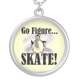 Penguin Go Figure Skate T-shirts and Gifts Silver Plated Necklace