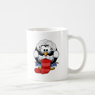 Penguin grandma knitting animation illustration classic white coffee mug
