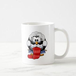 Penguin grandma knitting animation illustration coffee mug
