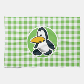 Penguin; Green Gingham Kitchen Towel