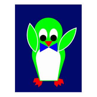 Penguin - Green Postcard