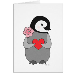 Penguin Greeting Card Valentine's Day Cute Penguin