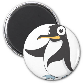 Penguin Hands Up Pointing Left Right Showing 2 Inch Round Magnet
