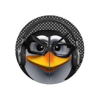 Penguin Headphones Polka Round Clock