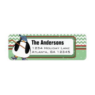 Penguin Hockey Stick Christmas Return Address
