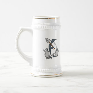 Penguin Holding Shovel With Chicks Drawing Beer Stein