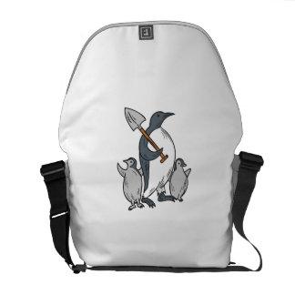 Penguin Holding Shovel With Chicks Drawing Commuter Bag