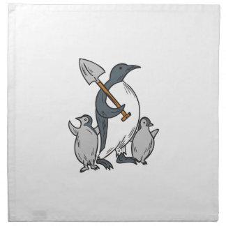 Penguin Holding Shovel With Chicks Drawing Napkin