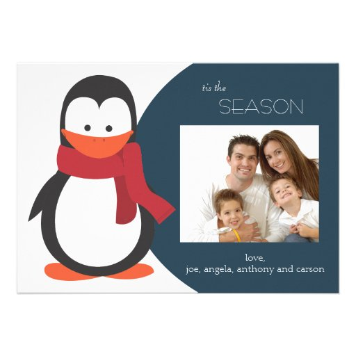Penguin Holiday Flat Card-navy Personalized Invitations