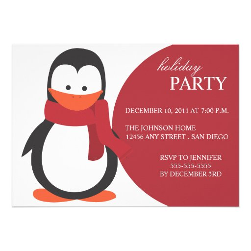 Penguin Holiday Party Invitation-red