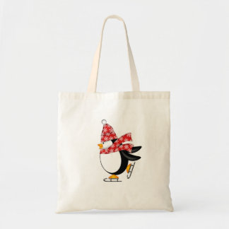 Penguin Ice Skaing with Hat and Scarf Bag
