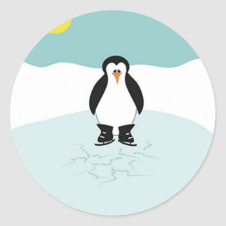 Penguin Ice Skating Classic Round Sticker