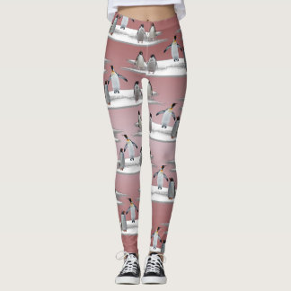 Penguin Iceberg Party Leggings (Dusty Pink Mix)